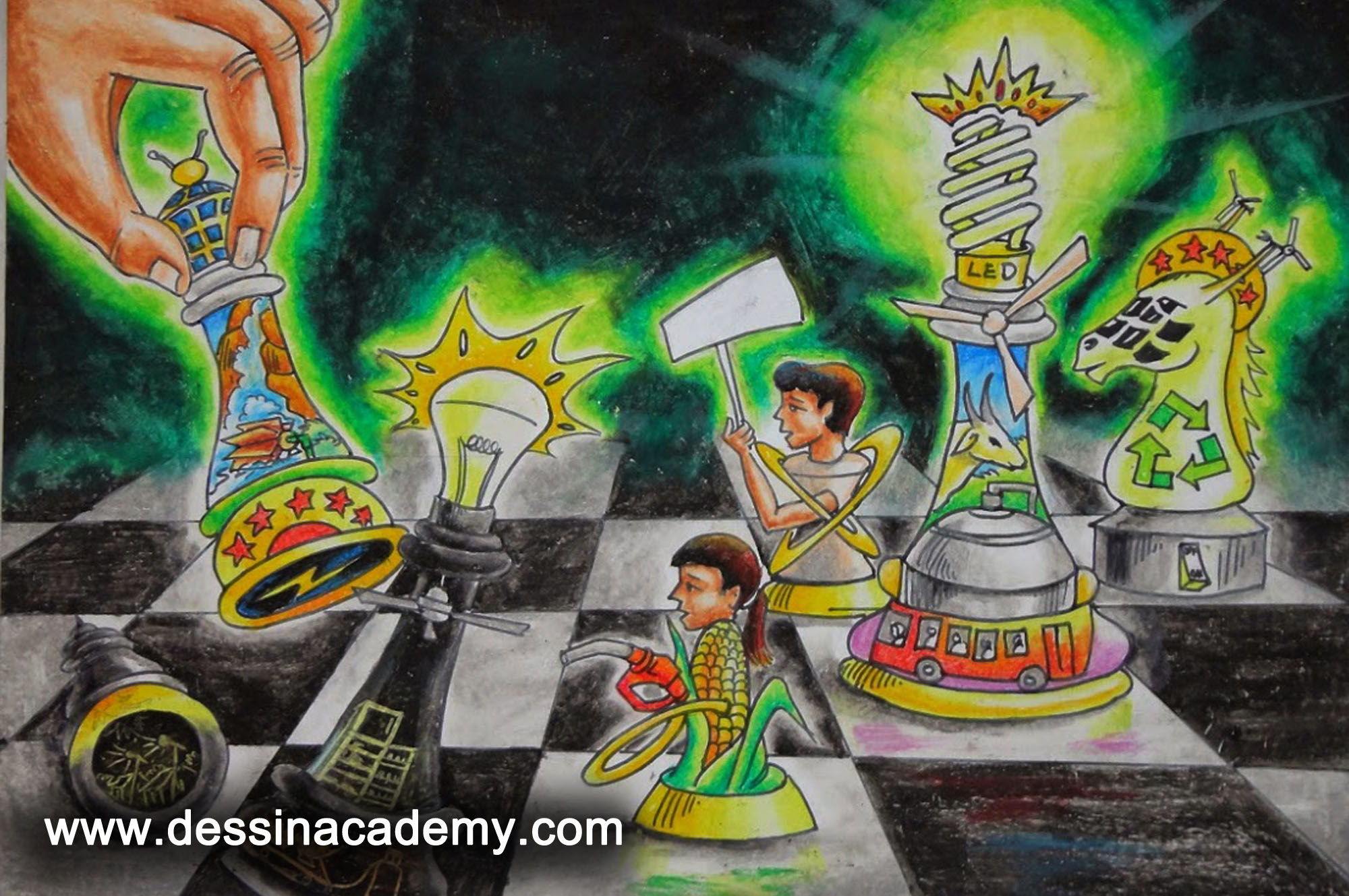 Dessin School of Arts Students Painting, Dessin School of Arts, charcoal Drawing School For Kids in chennai